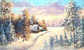"""Картина на холсте """"Домик в зимнем лесу"""""""