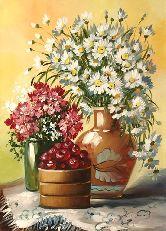 """Картина на холсте """"Вишня и цветы"""""""