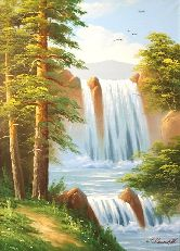 "Картина на холсте ""Водопад в летнем лесу"""