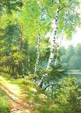 "Картина на холсте ""Лесная дорога к реке"""
