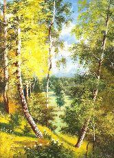 """Картина на холсте """"Солнечный день в лесу """""""