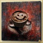 Кофейный смайлик, картина, Модерн натюрморт №28