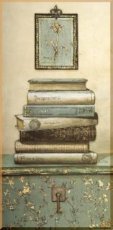 Книги и картина, картина, Модерн натюрморт №49