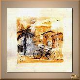 Велосипед и деревня, картина, Модерн натюрморт №78