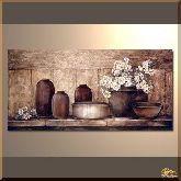 Посуда на лавке, картина, Модерн натюрморт №83