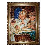 Иисус с ангелочками икона из янтаря