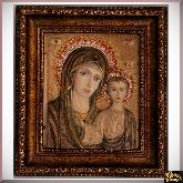 Резная икона с мозаикой Богоматерь