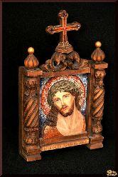 Резная икона с мозаикой Иисус