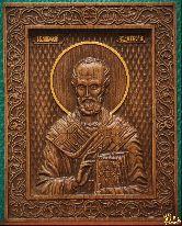 Икона Святой Николай Чудотворец резная