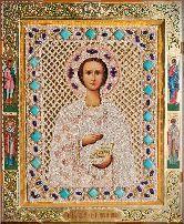 Икона с жемчугом Святой Целитель Пантелеимон
