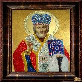 Икона Николай Чудотворец из страз
