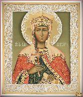 Икона св. Варвары из серебра