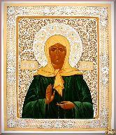 Икона Блаженная Матрона Московская из серебра