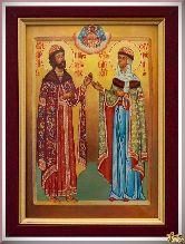 Икона св. Петра и Февронии из серебра