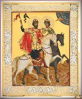 Икона св. Бориса и Глеба из серебра