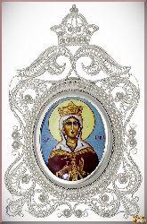 Икона Великомученица Ирина Македонская из серебра