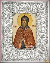 Икона  Преподобный Нил Сорский из серебра