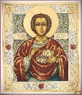 Икона Великомученик Пантелеимон Целитель из серебра
