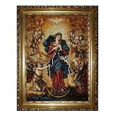Икона Богородица развязывающая узлы из янтаря