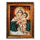 Икона Богородица с младенцем из янтаря