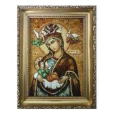 Икона Богородицы Млекопитательница из янтаря