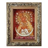 Икона Богородицы Остробрамская из янтаря