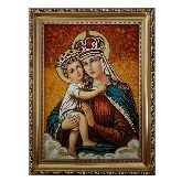 Икона Богородицы с младенцем с янтаря