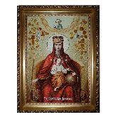 Икона Божией Матери Державная из янтаря