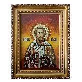 Икона Григория Богослова из янтаря