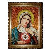 Икона из янтаря Богородица Непорочное сердце