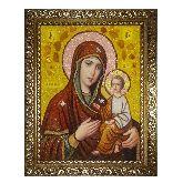 Икона из янтаря Божьей Матери Тихвинская