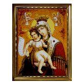 Икона из янтаря Пресвятой Богородицы Достойно есть