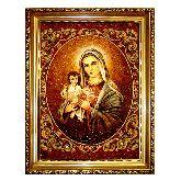 Икона Католическая Дева Мария из янтаря