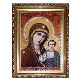 Икона Казанская Богородица с янтаря