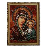 Икона Казанская Пресвятая Божья Матерь из янтаря