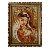 Икона Мадонна с младенцем из янтаря