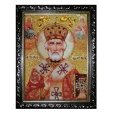 Икона Николай Чудотворец янтарная