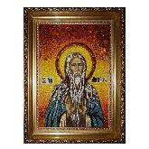 Икона Преподобный Макарий из янтаря