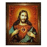 Икона Пресвятое Сердце Иисуса Христа из янтаря