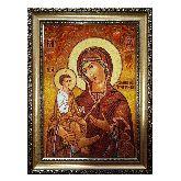 Икона с янтаря Божией Матери Троеручица