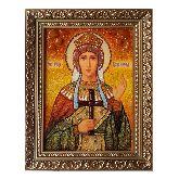 Икона с янтаря Преподобная Александра Дивеевская