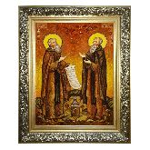 Икона с янтаря Зосима и Савватий Соловецкие Преподобные