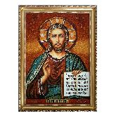 Икона Спаситель Иисус из янтаря