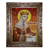 Икона Святая царица Елена из янтаря