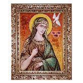 Икона Святая Ирина Македонская из янтаря