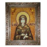 Икона Святая Мелания Римляныня из янтаря
