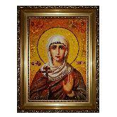 Икона Святая мученица Галина из янтаря