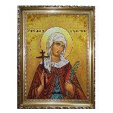 Икона Святая Валентина Кесарийская из янтаря