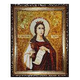 Икона Святая великомученица Варвара из янтаря
