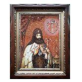 Икона Святитель Петр Могила из янтаря